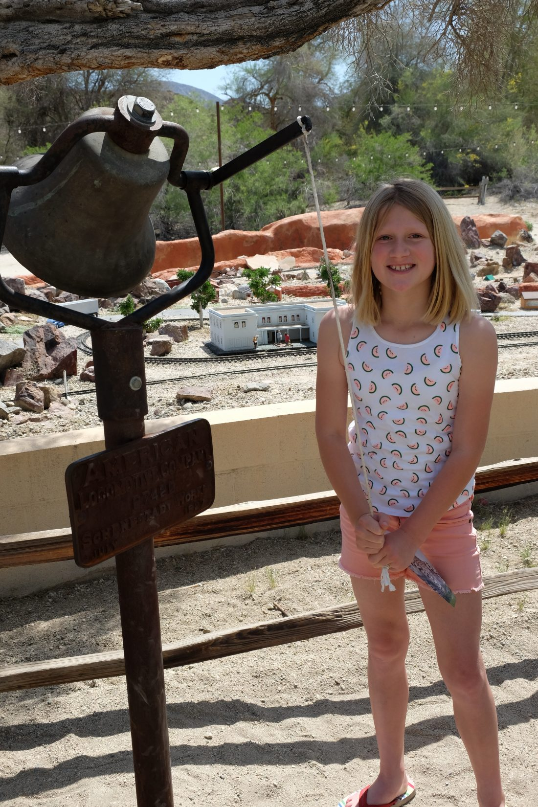 Ringing the signal bell at the Living Desert. Palm Springs