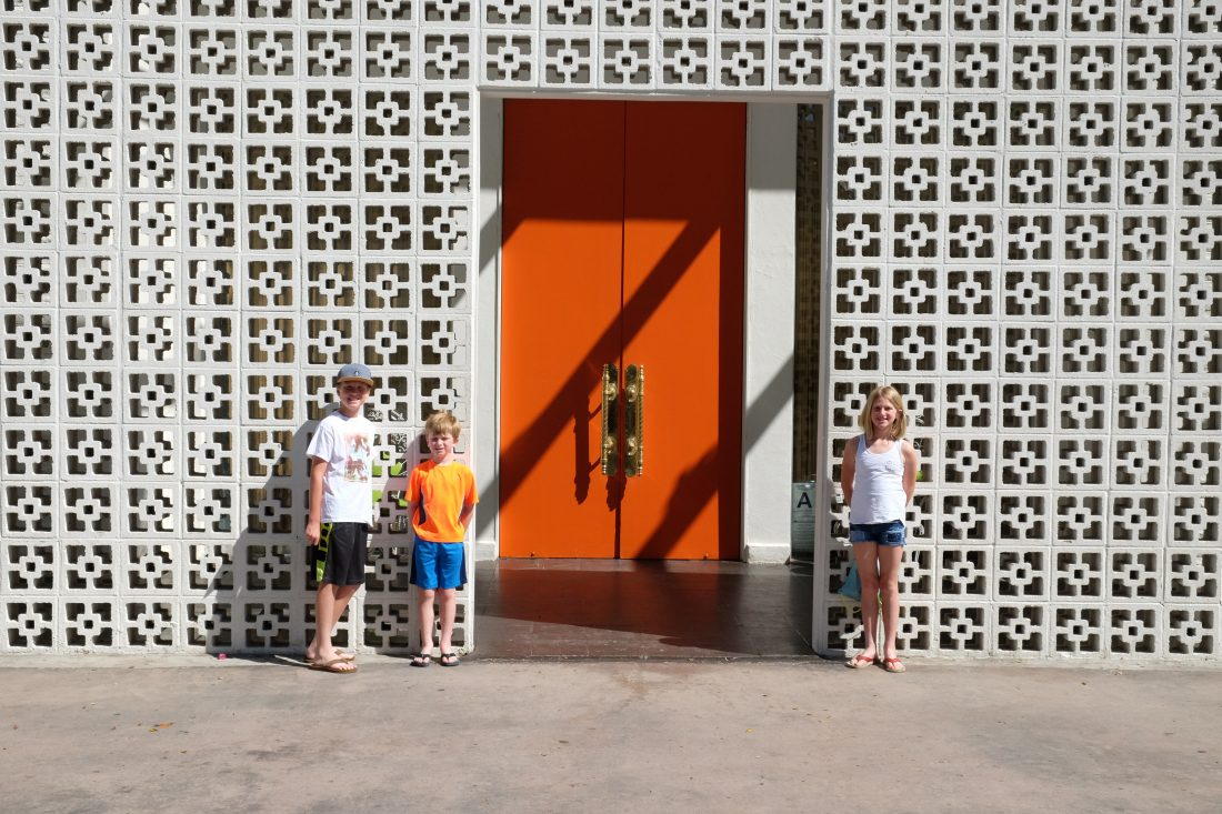 Bright orange door to the Parker Hotel. Palm Springs