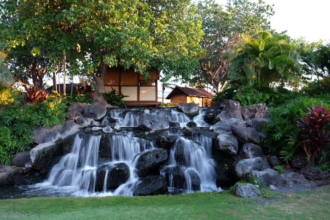 Spa therapy rooms perched near the waterfall. Fairmont Orchid. Big Island, Hawaii.