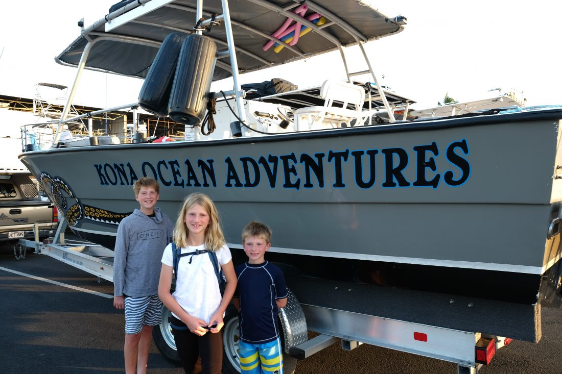 Arriving at Kona Ocean Adventures for our manta ray snorkel