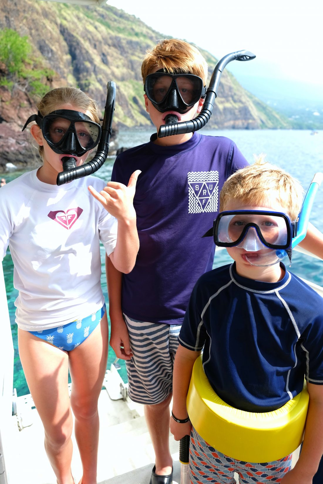 Ready to snorkel Kealakekua Bay
