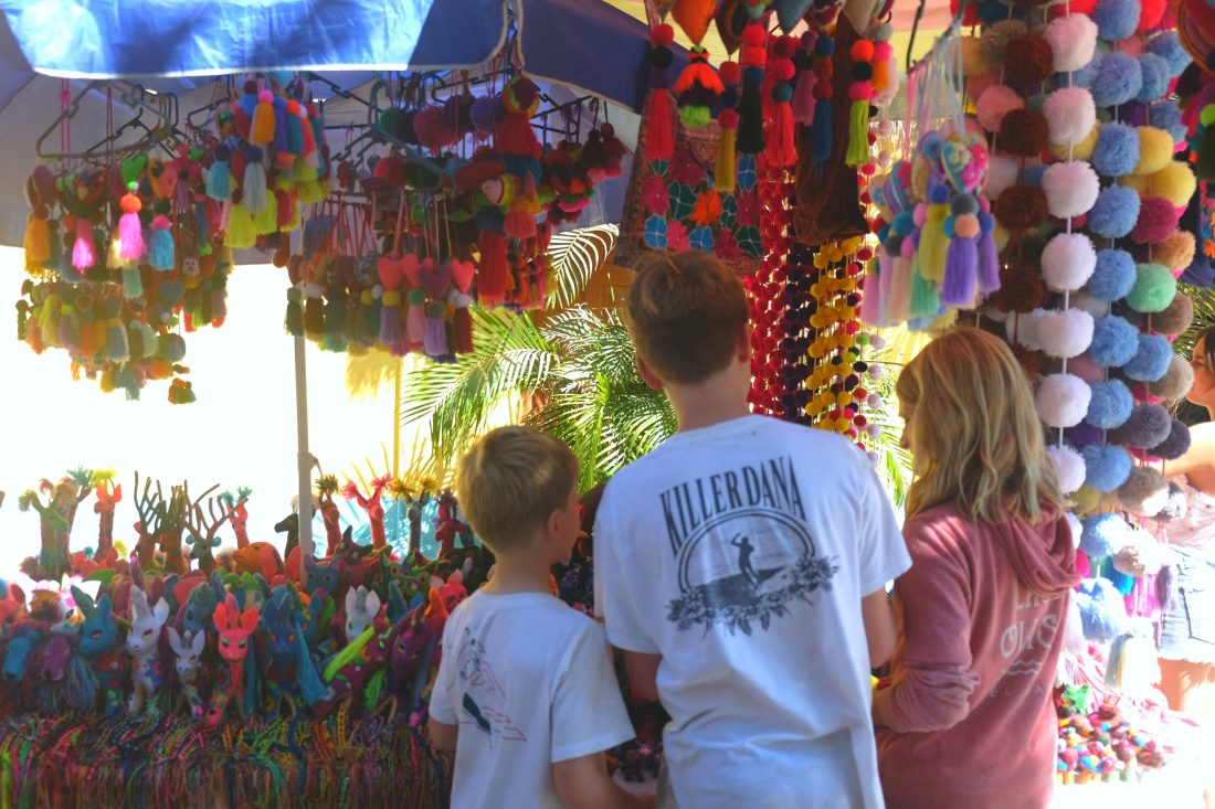 Shopping the colorful street market in Sayulita