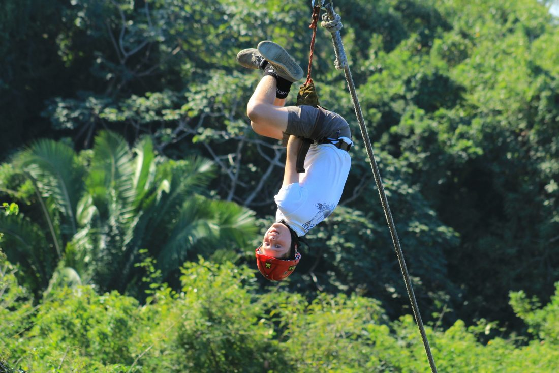 Riding the zip line upside down!