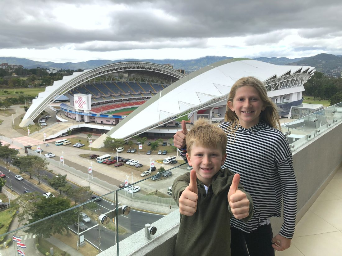 View of the national stadium from our hotel. San Jose Costa Rica