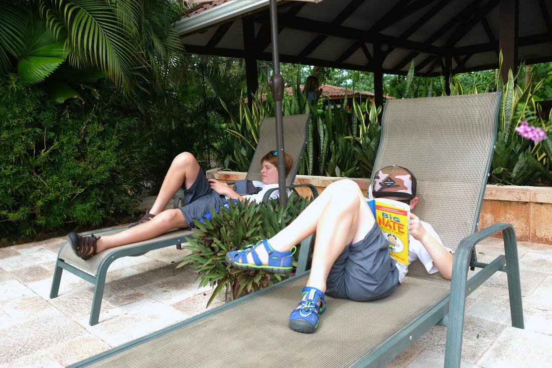 Relaxing by the pool at Mawumba Lodge. Tortuguero, Costa Rica