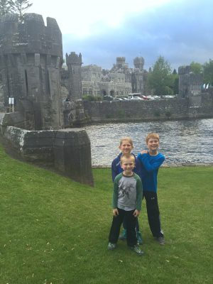 Crossing the moat over to Ashford Castle. County Mayo, Ireland