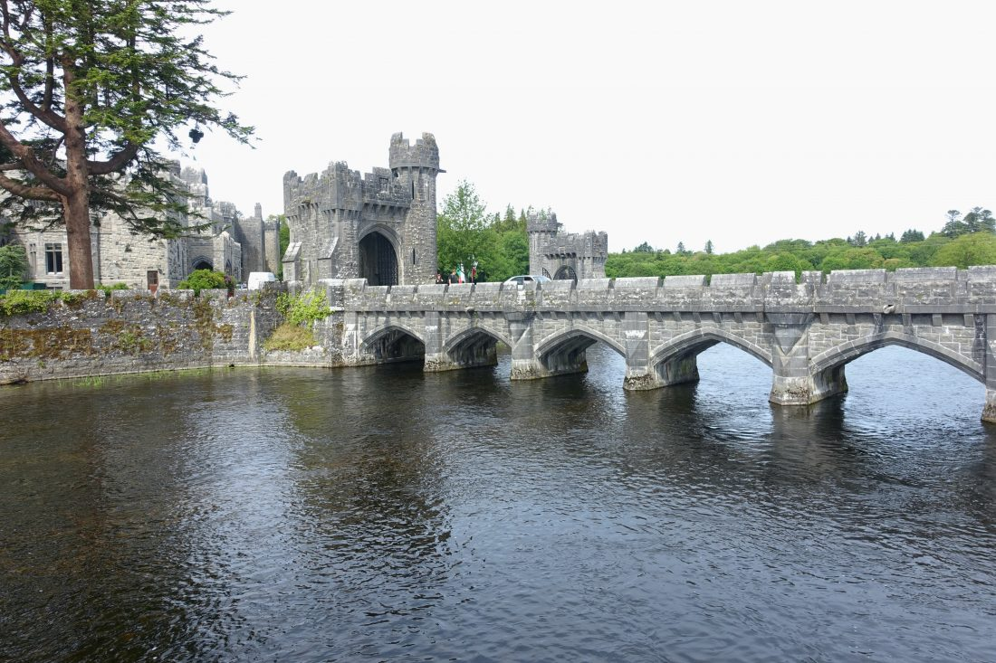 The bridge that leads across the moat into Ashford Castle. County Mayo, Cong, Ireland