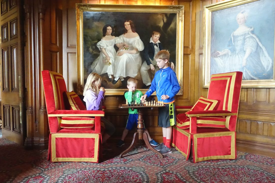 Playing chess in the lobby at Ashford Castle. County Mayo. Cong. Ireland