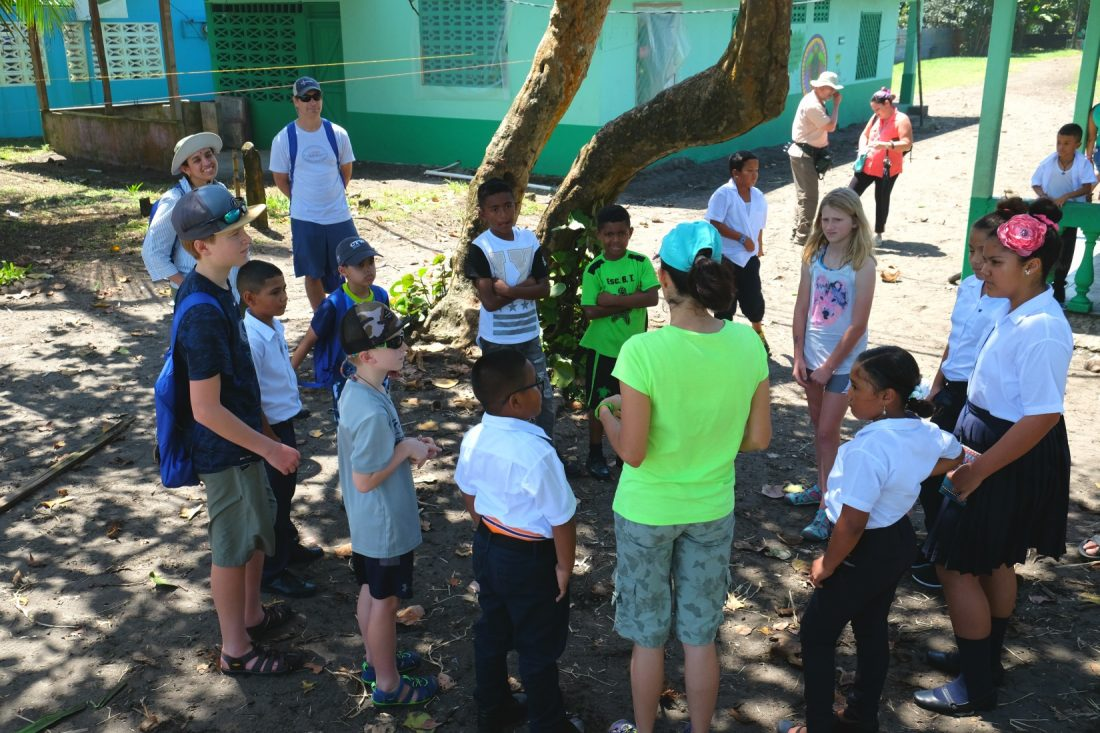 Meeting our pen pals at a local school. Tortuguero. Costa Rica