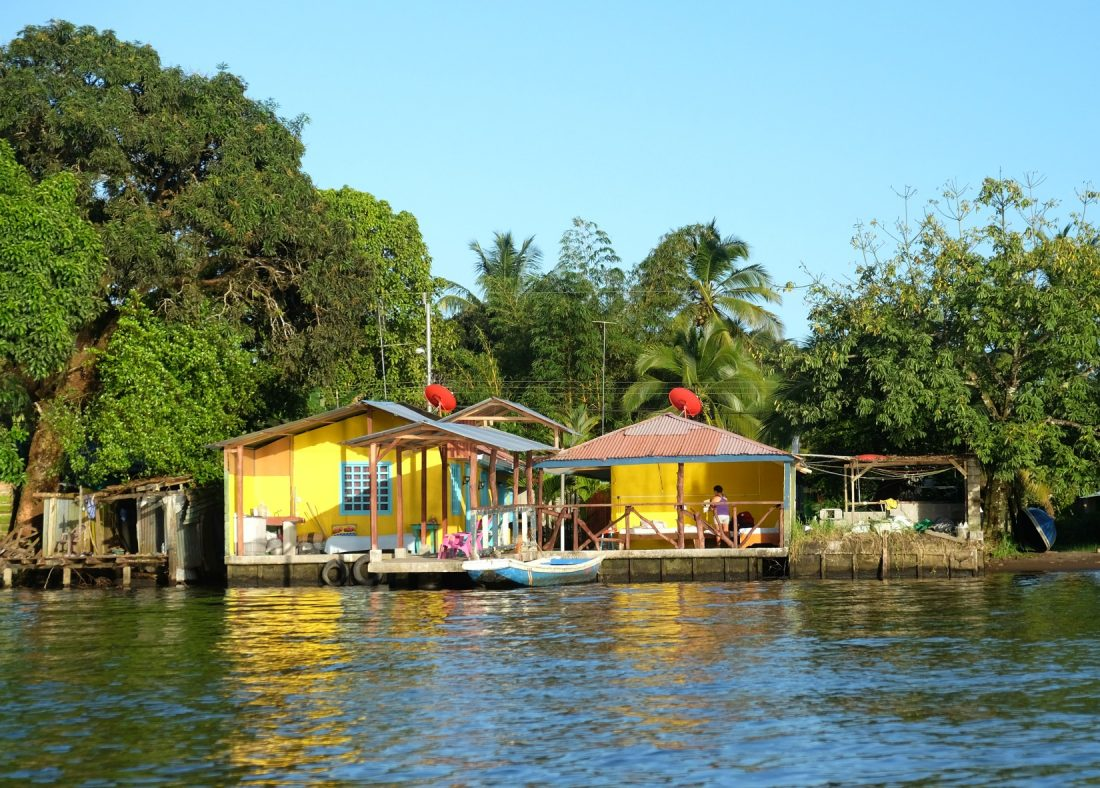 A colorful house along the canal. Tortuguero, Costa Rica