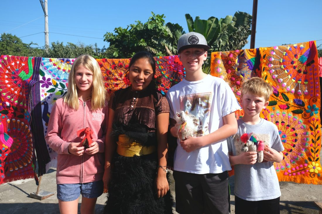 Our kids with Amelie in traditional Chiapas clothing. Human Connections, Bucieras Mexico