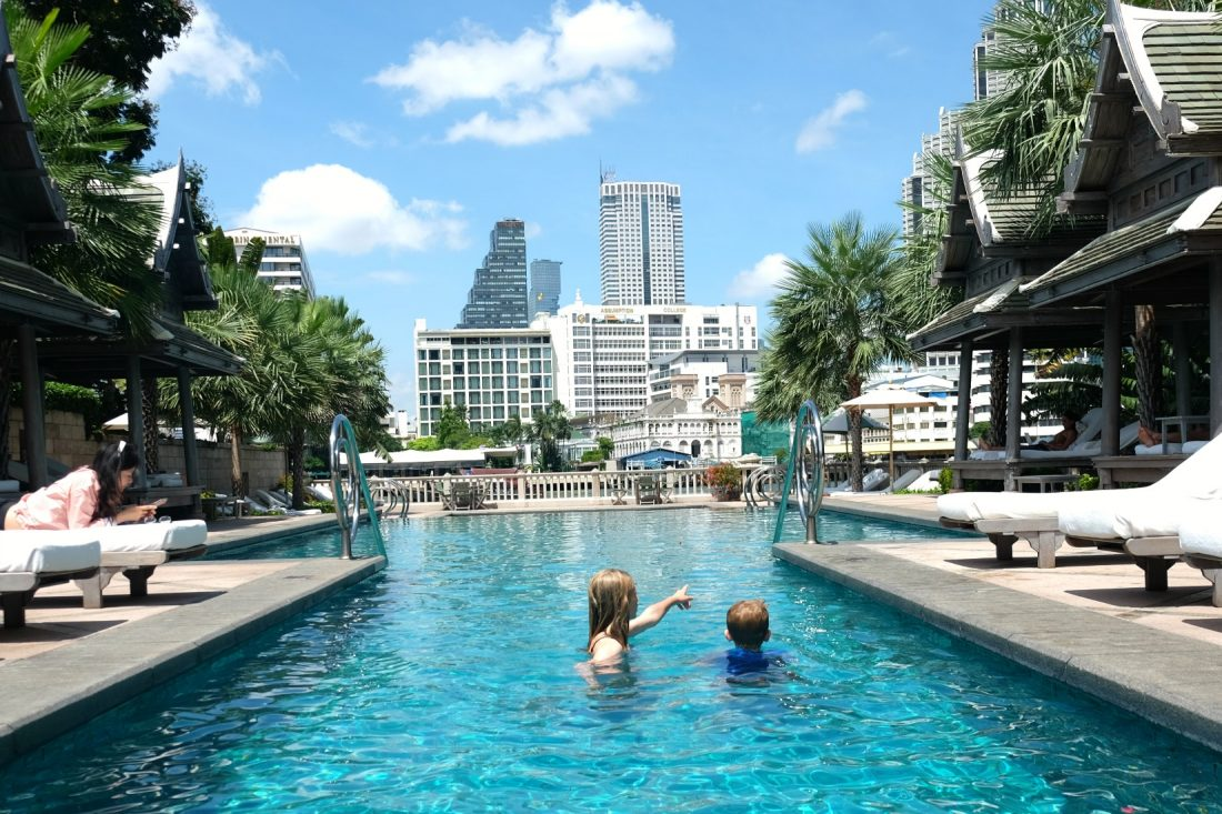 Swimming at the Peninsula Bangkok