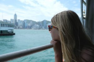 Riding the Star Ferry across Victoria Harbor. Hong Kong