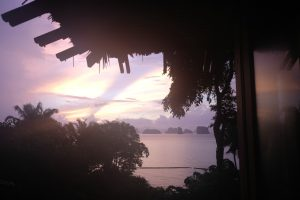 Sunrise from our villa at the Six Senses Yao Noi. Thailand