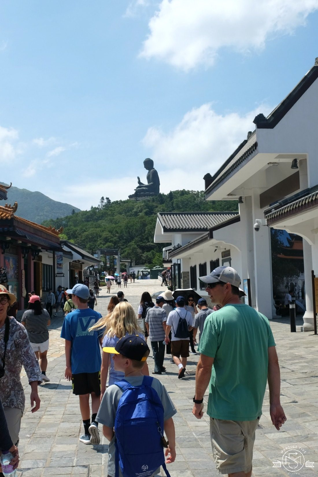 Walking through Ngong Ping Village to Big Buddha