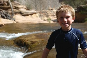 Adjusting to the cold water at Slide Rock State Park
