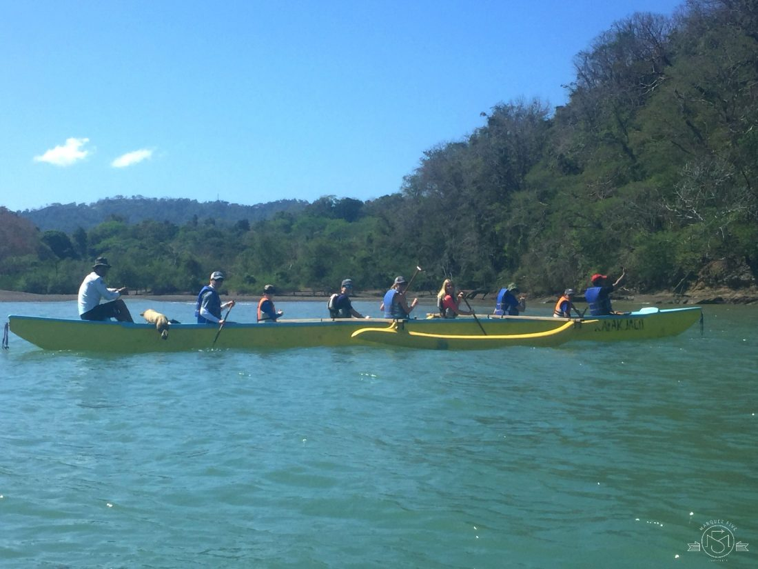 Paddling in the outrigger!