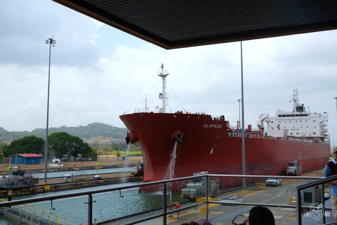 A gas tanker coming through the lock