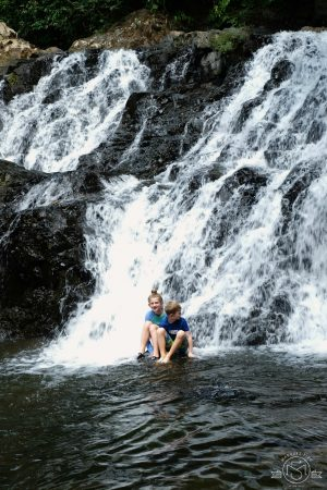We found a waterfall at the end of the trail!