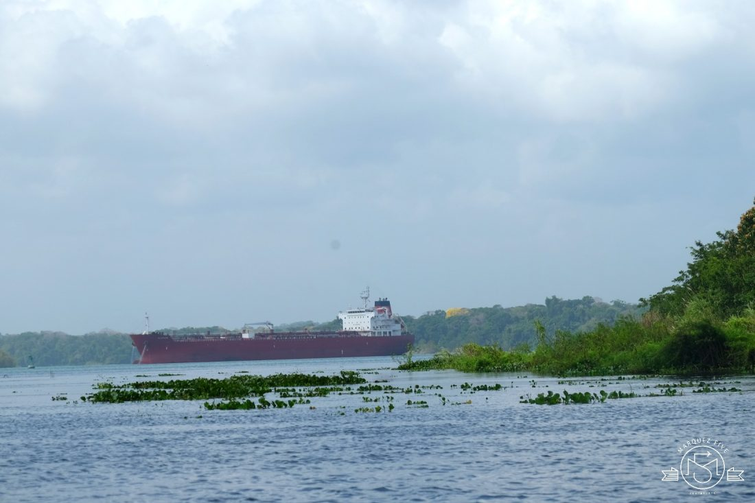 A gas tanker crossing Gatun Lake in the Panama Canal