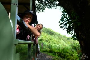 Riding in the open air truck at Kualoa Ranch