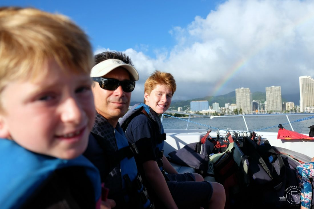 A rainbow at the end of our parasailing adventure!