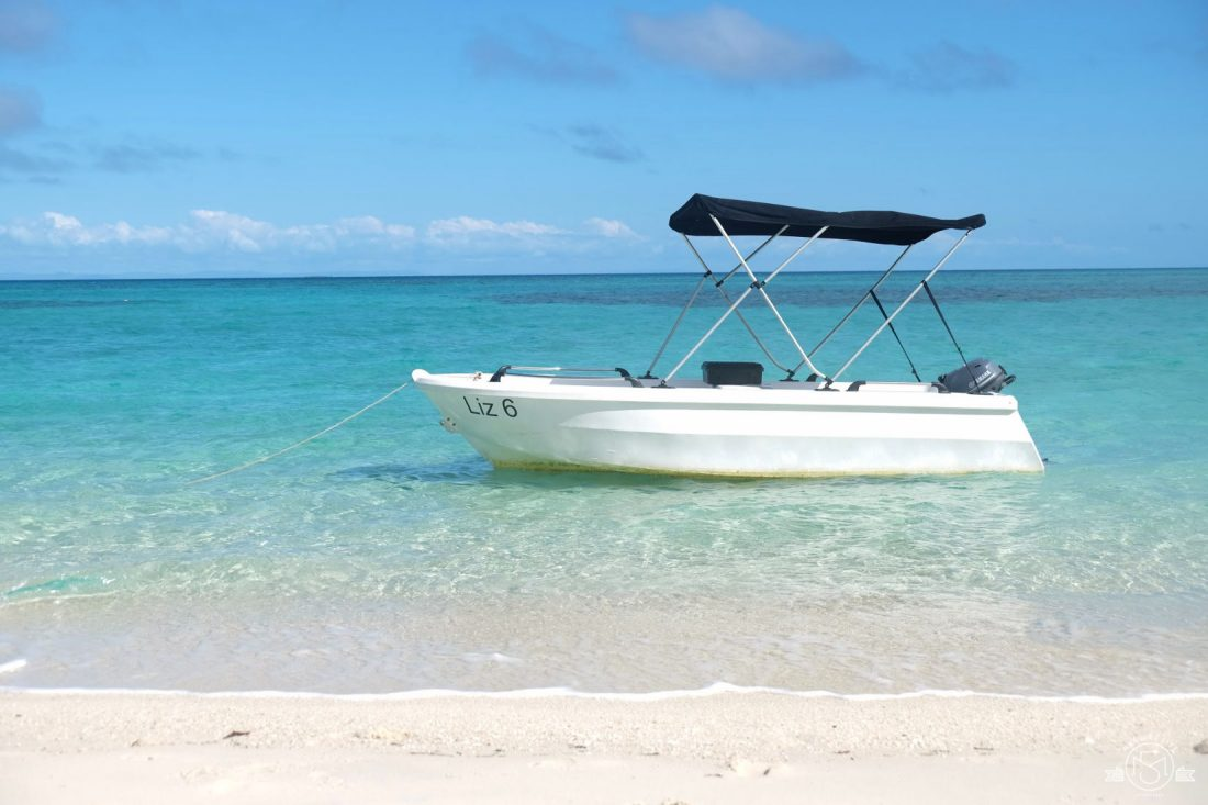 Our dinghy anchored off the secluded beach
