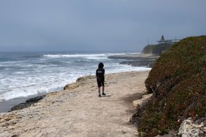 Walking to the tide pools off in the distance. Santa Cruz, CA. Natural Bridges State Beach