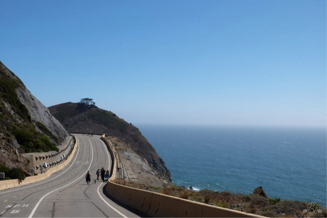 Devil's Slide Trail is converted from an old segment of Highway 1 - so you feel like you're walking down the middle of the road! Pacifica California