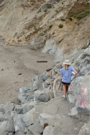 Climbing down to Mussel Rock State Beach. Daly City California. Mussel Rock Trail