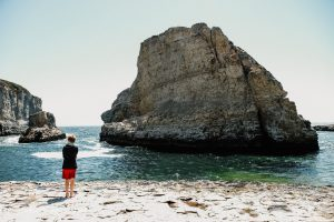 The water was a little too rough & cold for a swim! Davenport California. Shark Fin Cove