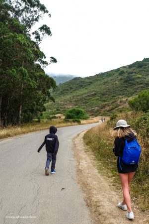 The trail starts with a gentle descent. Tennessee Valley Trail. Marin California