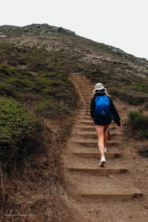 Climbing up the stairs to the bunkers and great view! Tennessee Valley Hike. Marin California