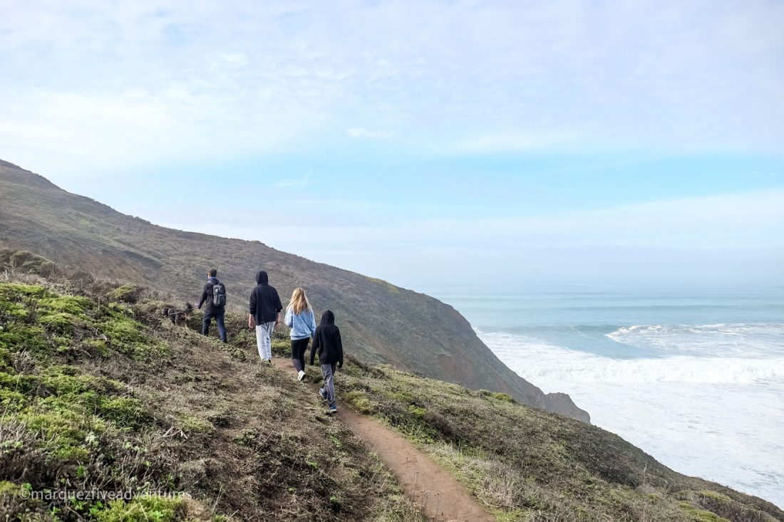 Hiking along the Bluff Trail at Mori Point. Mori Point Trail. Pacifica, California