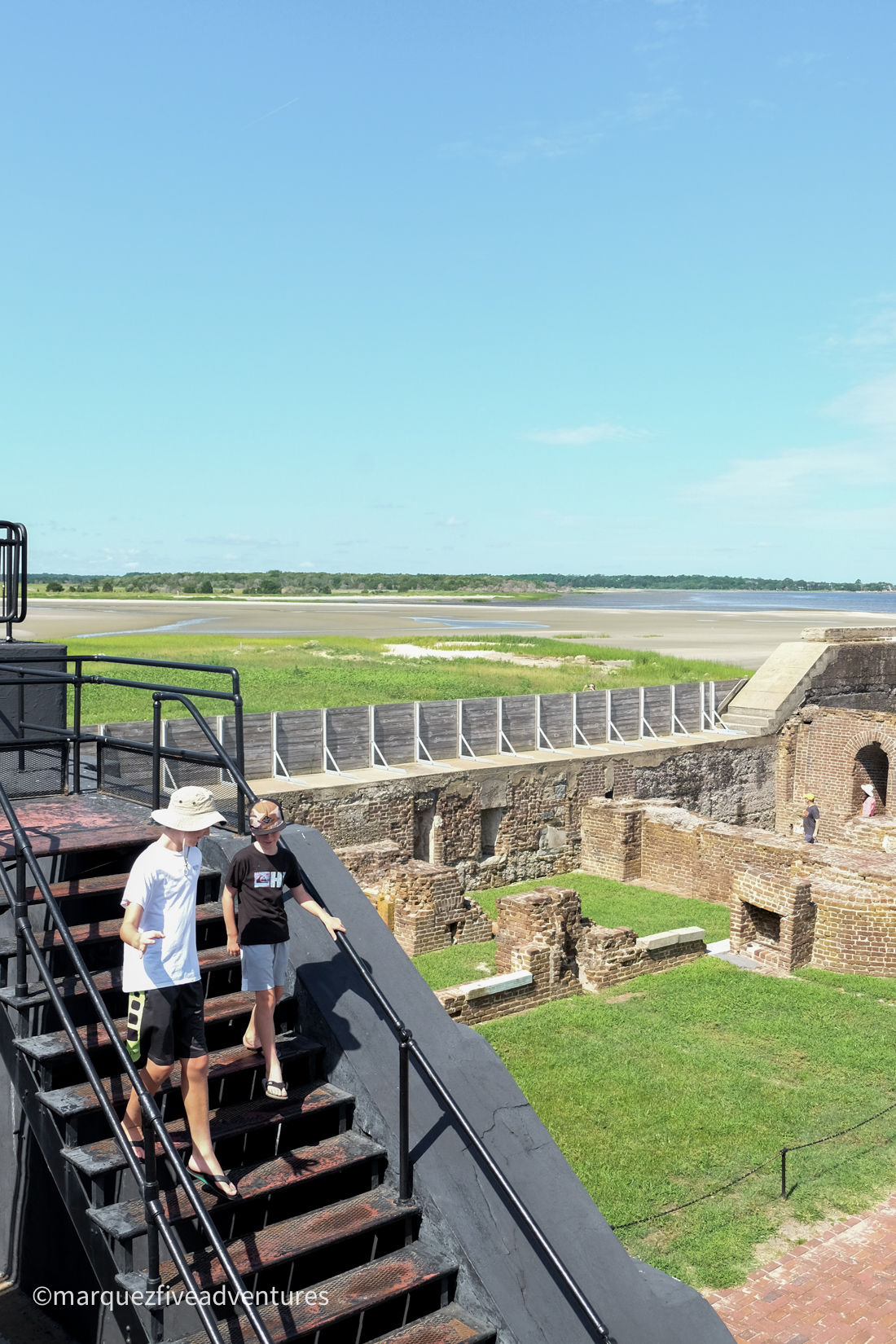 Exploring the grounds of Fort Sumter. Charleston, South Carolina