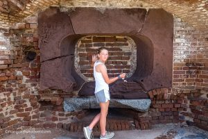 Looking for damage caused by cannonballs. Fort Sumter, Charleston South Carolina