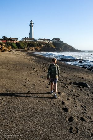 Exploring the beach at Pigeon Point. Pescadero, California. San Mateo County