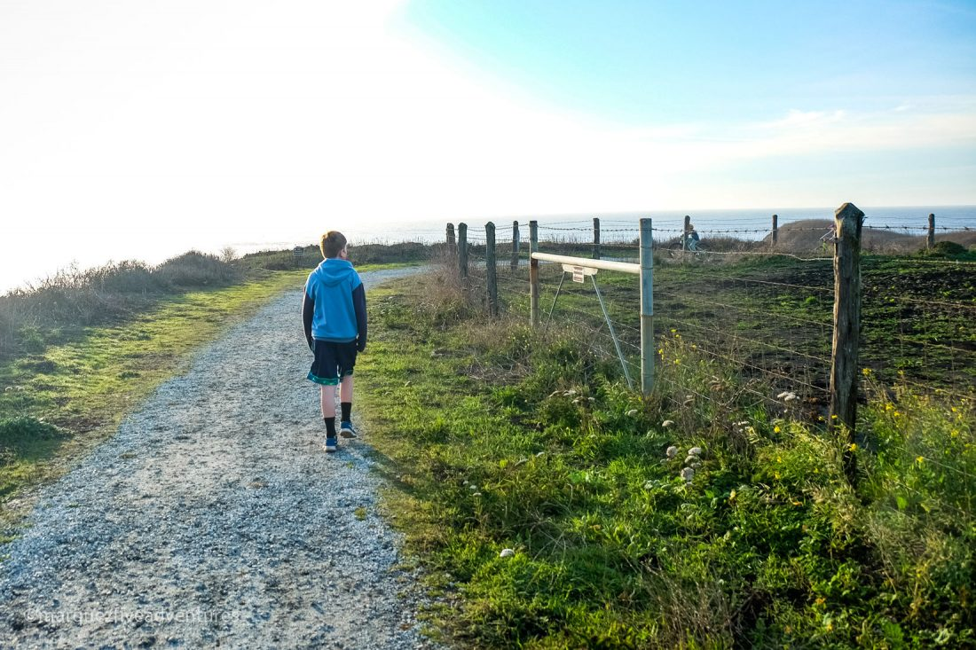 Ocean on one side of the trail, farmland on the other. Cowell-Purisima Trail. Half Moon Bay, California