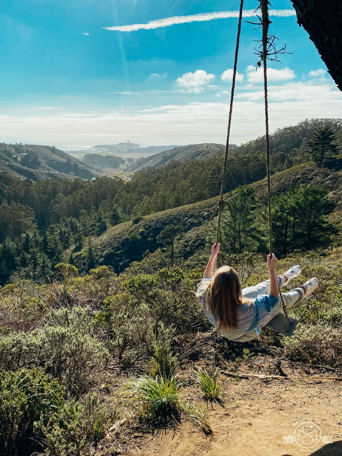 Found this swing at the top of the trail! You can see Pillar Point off in the distance. Rancho Corral de Tierra. Moss Beach, California