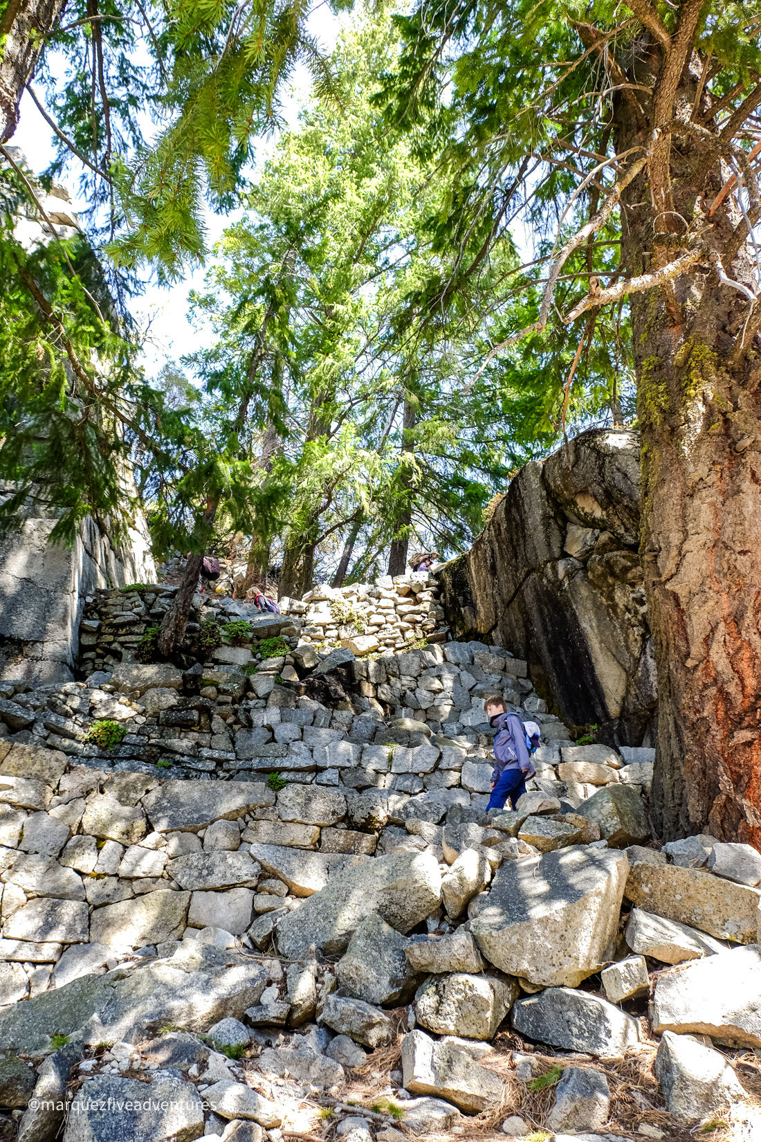 The last bit of uphill before the top! Yosemite National Park. California. The Mist Trail