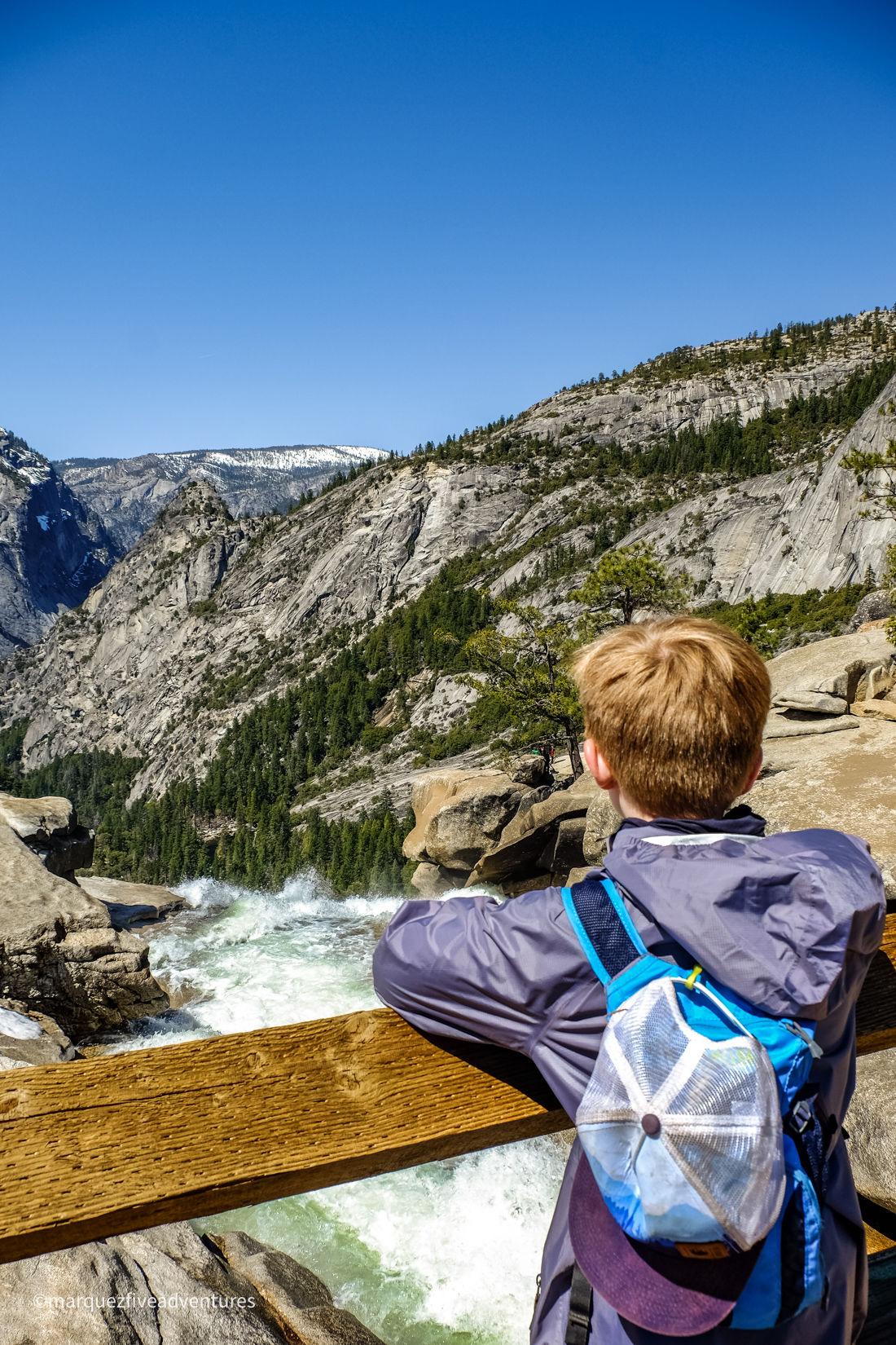 Overlooking the top of Nevada Falls. Yosemite National Park. California. Mist Trail