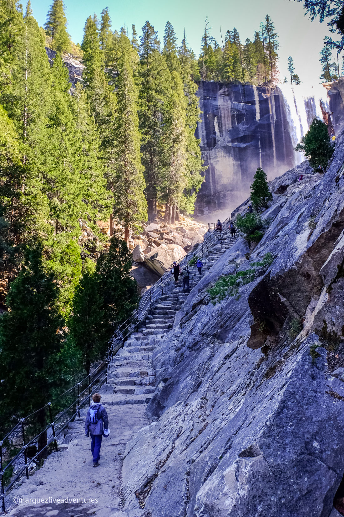 Beginning the stairs to Vernal Falls. The Mist Trail. Yosemite National Park, California