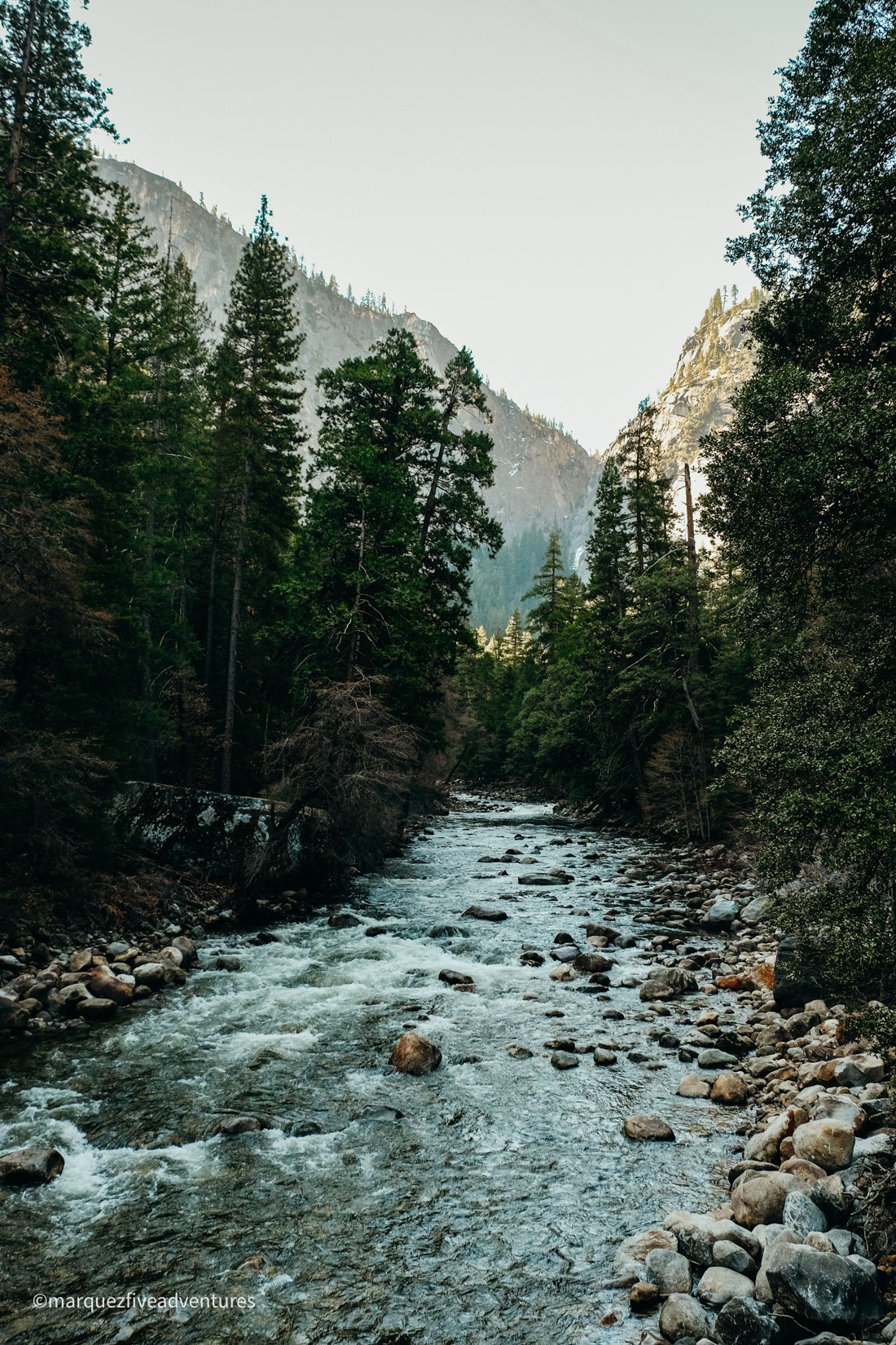 Crossing over the Merced River on the way to the Mist Trailhead. Yosemite National Park. California