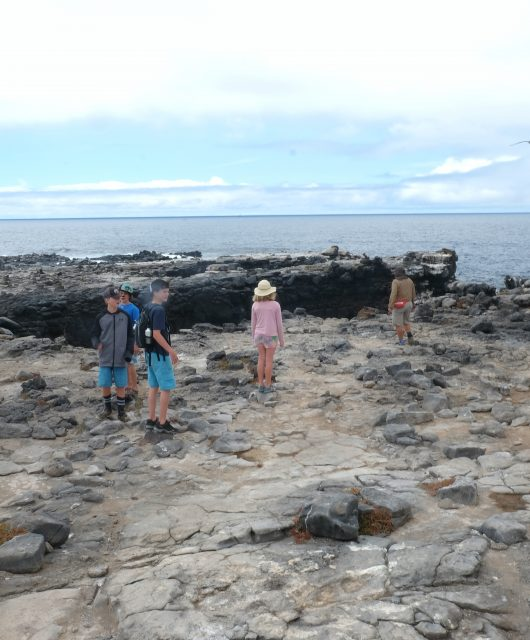 Walking along the lava rocks on South Plaza Island. Galapagos