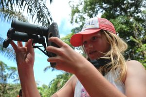 Perfecting the art of iPhone-scoping. Tortuguero National Park. Costa Rica