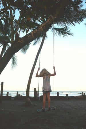 Swinging at sunset...overlooking the Caribbean Sea. Mawamba Lodge, Tortuguero, Costa Rica
