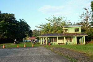 "An old abandoned building serves as the ""airport"" Tortuguero Costa Rica"