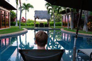 Enjoying our private pool. Pauoa Beach Neighborhood. Big Island, Hawaii