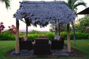 Backyard overlooking the golf course and mountains. Pauoa Beach Club Neighborhood. Big Island Hawaii