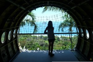 Admiring the Pacific from an old fuselage perched high on a hill. Anaconda Restaurant. Manuel Antonio Park, Costa Rica